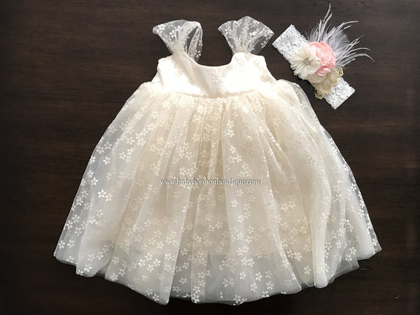 Baptism Champagne Tulle Dress with Headband