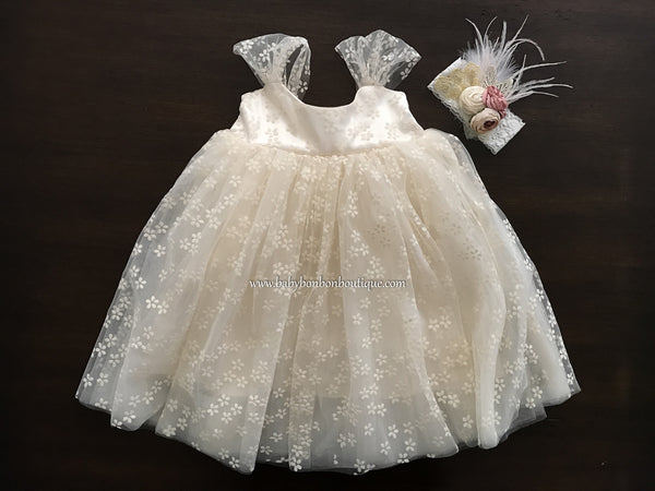 Baptism Tulle Dress with Headband