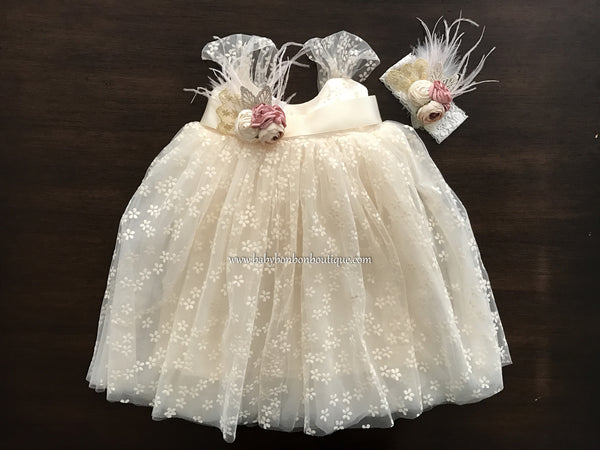 Baby Baptism Dress with Peach Blush Headband & Sash, Tulle Flower Girl Dress