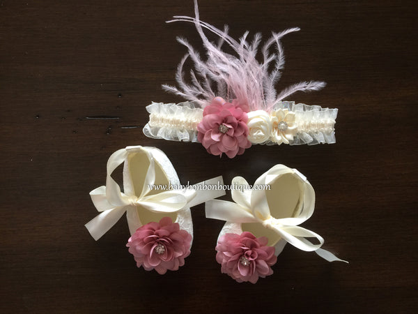 Ivory Baptism Lace Shoes and Headband Set