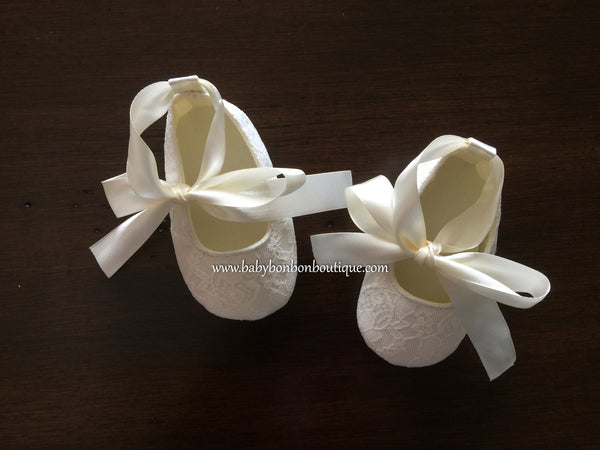 Baby Girl White Baptism Shoes, French White Baby Girl Lace Shoes