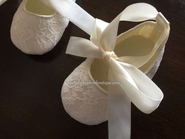 Ivory Baby Baptism Shoes, Baby White Lace Baptism shoes