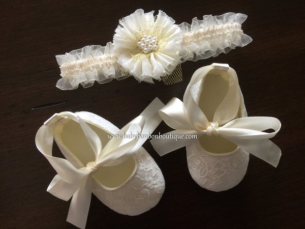Ivory Baby Girl Baptism Shoes and Headband Set