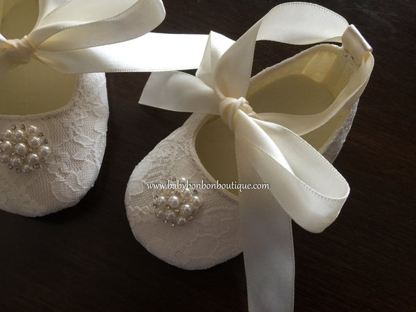 Baby Girl Ivory Lace Baptism Shoes, Pearls & Rhinestones