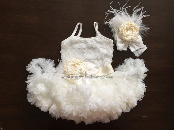 Ivory Baptism Tutu Dress, Ivory Flower Girl Dress, Baby Ballerina