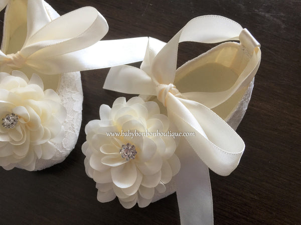 Ivory Baptism Shoes for Girls with Ivory Flowers and Rhinestones