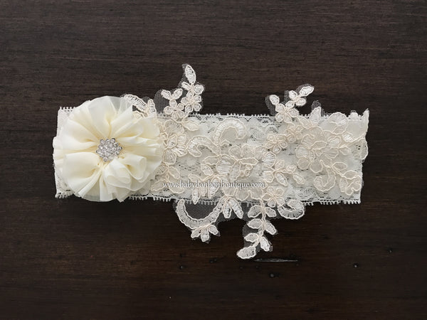 Ivory Baptism Headband, French White Baptism Headband