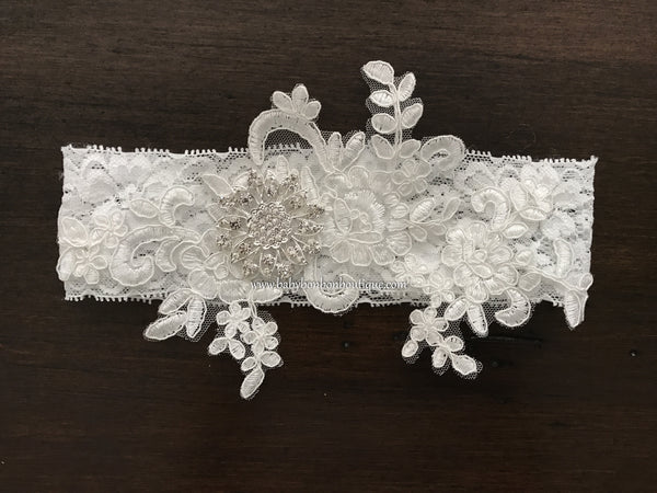 French White Baptism Headband, Ivory Christening Headband
