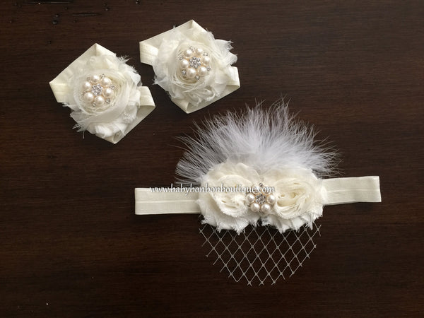 Ivory Baptism Headband with Veil, Sash, and Sandals