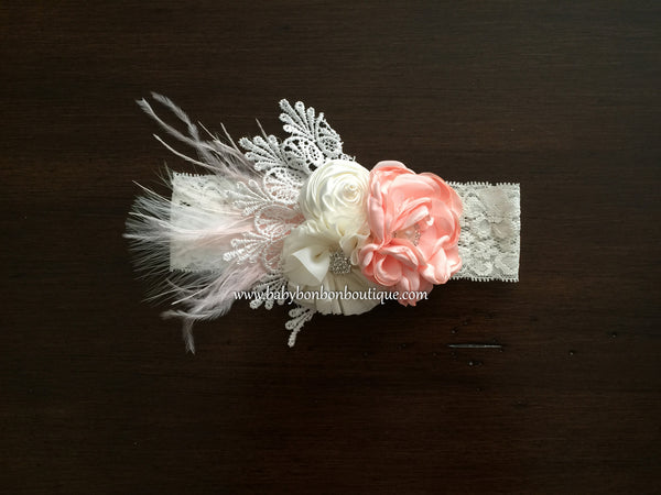 Peach & Ivory Baptism Headband, Sash, and Sandals