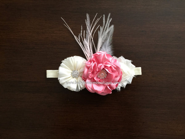 Pink & Ivory Baptism Headband, Sash, and Sandals