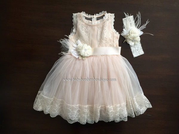 Baptism Dress, Ivory Headband & Sash
