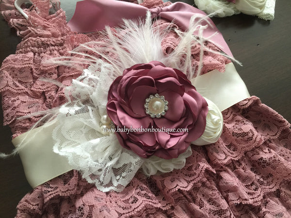 Baptism Lace Romper, Vintage Rose and Ivory