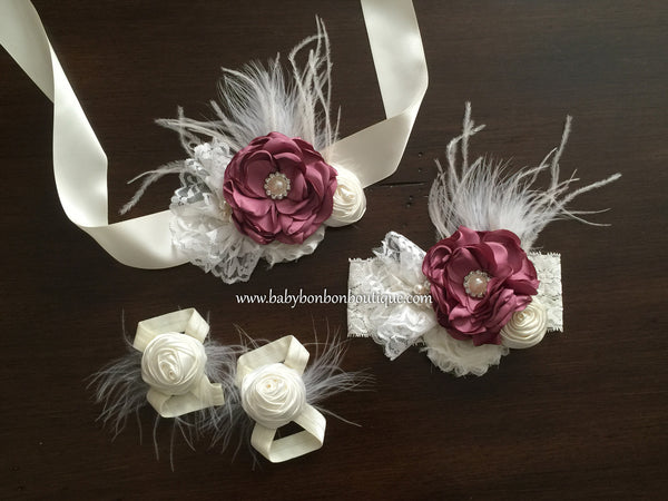 Vintage Rose & Ivory Christening Headband, Sash, and Barefoot Sandals