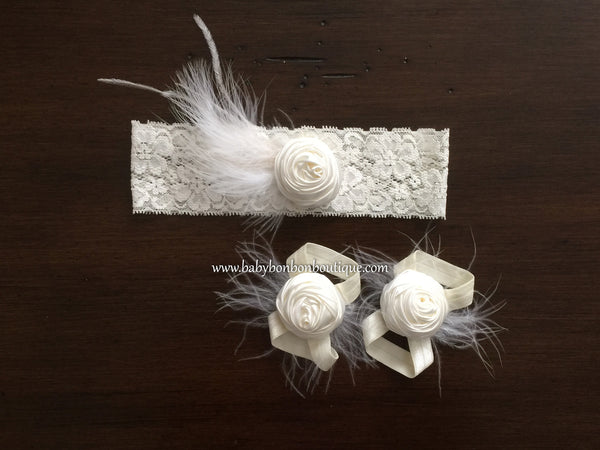 Baby Baptism Headband and Barefoot Sandals Set