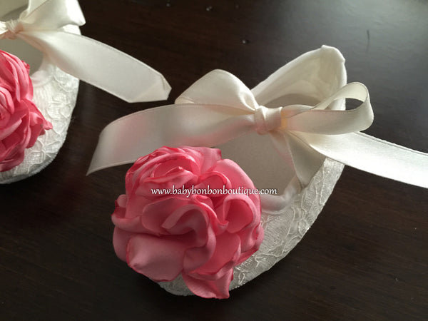 French Ivory Baptism Crib Shoes