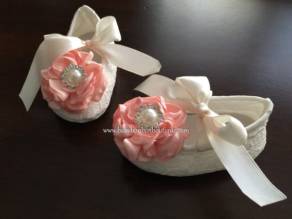 Ivory Lace Baptism Crib Shoes, Flowers & Rhinestones