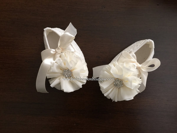 Ivory Baptism Crib Shoes & Headband Set