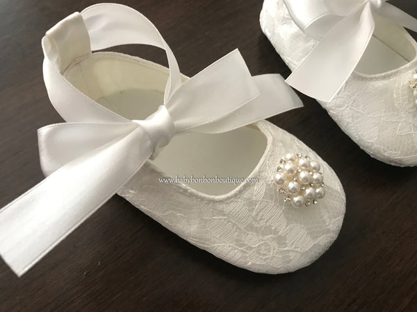 French White Baby Girl Baptism Shoes