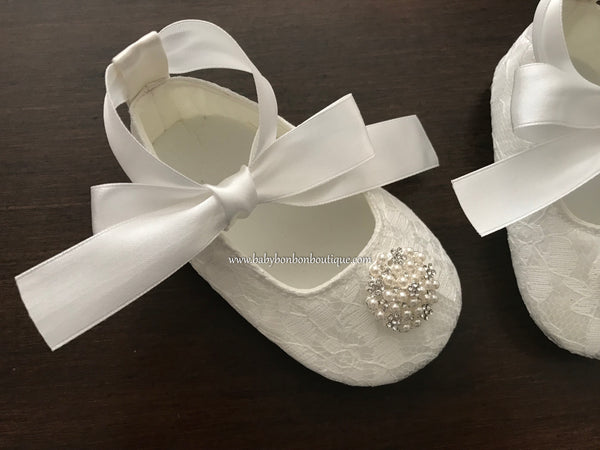 Baby Girl Christening Shoes, Pearls