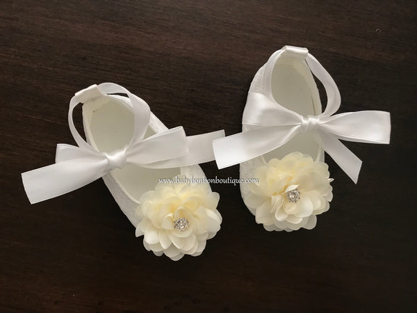 French White Baptism Shoes for Girls with Ivory Flowers and Rhinestones