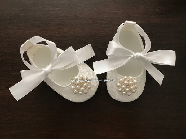French White Baby Baptism Shoes with Pearl Rhinestones, Baby Ivory Baptism Shoes
