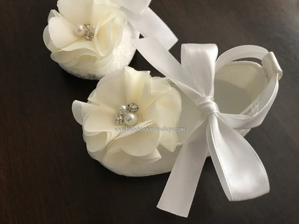 White Baptism Shoes with Flowers, Pearls & Rhinestones