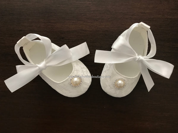 Baby Girl Crib Shoes, Baptism Shoes with Pearl