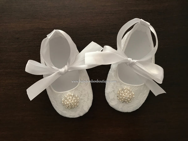 Baby Girl Christening Shoes, Pearls & Rhinestones