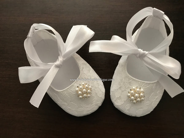 French White Baby Girl Baptism Shoes, Pearls & Rhinestones