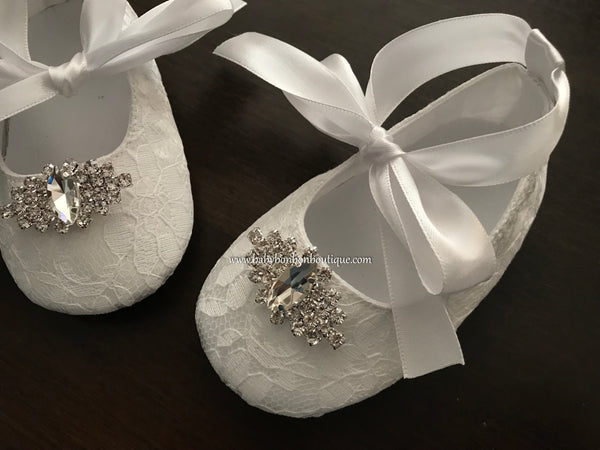 Baby Girl Baptism Shoes with Rhinestones