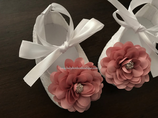 White Baby Girl Baptism Shoes with Dusty Rose Flowers