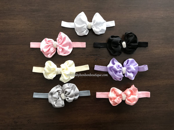 Baby Bow and Rhinestone Headband