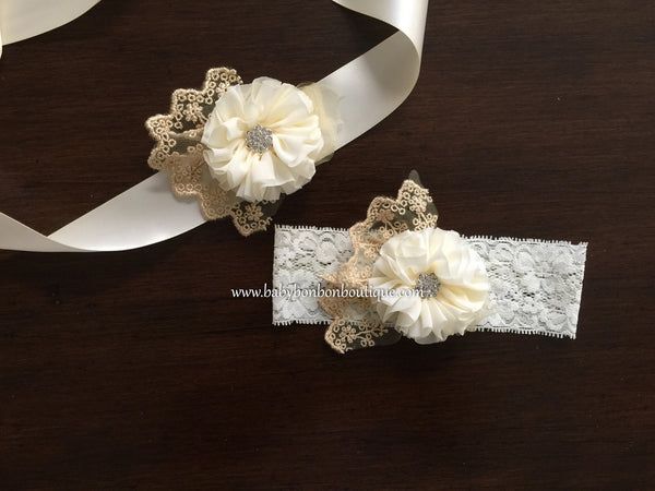 Ivory & Gold Baby Headband, Sash, and Barefoot Sandals