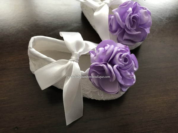 Flower Baptism White Crib Shoes