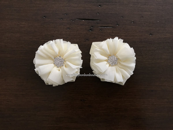 Ivory Baby Baptism Headband, Sash, and Barefoot Sandals