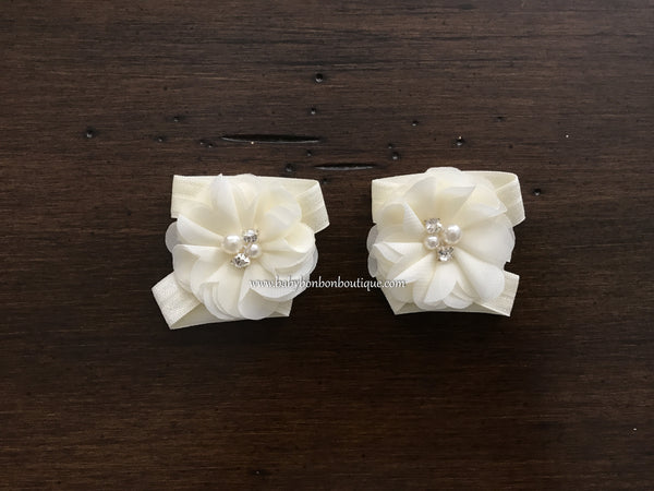Blush & Ivory Baptism Headband, Sash, and Sandals