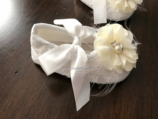 Ivory Baptism Shoes with Flowers, Pearls, & Rhinestones