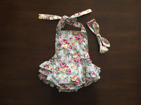 French Teal Floral Baby Ruffled Romper