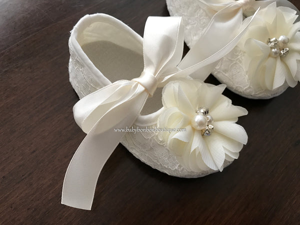 Baptism Shoes with Flowers, Pearls & Rhinestones