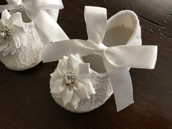 Ivory Baptism Shoes with Flowers and Rhinestones