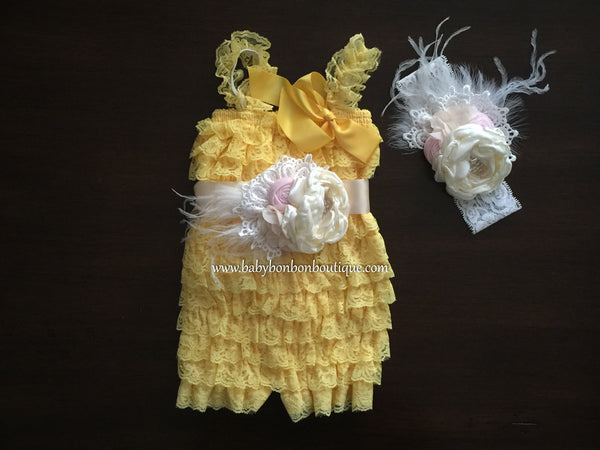 Ivory Baby Lace Romper with Headband & Sash