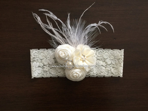 Ivory Christening Headband and Baby Girl Baptism Sash
