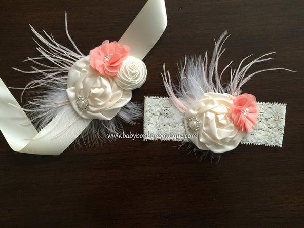 French Ivory and Coral Shimmer Headband & Sash Set