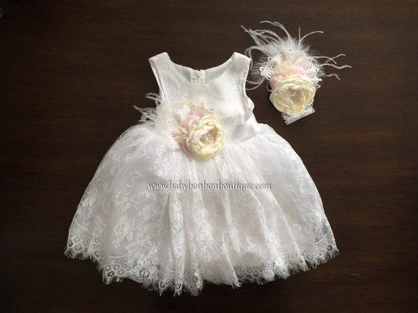 Baby French White Baptism Lace Dress with Headband & Sash