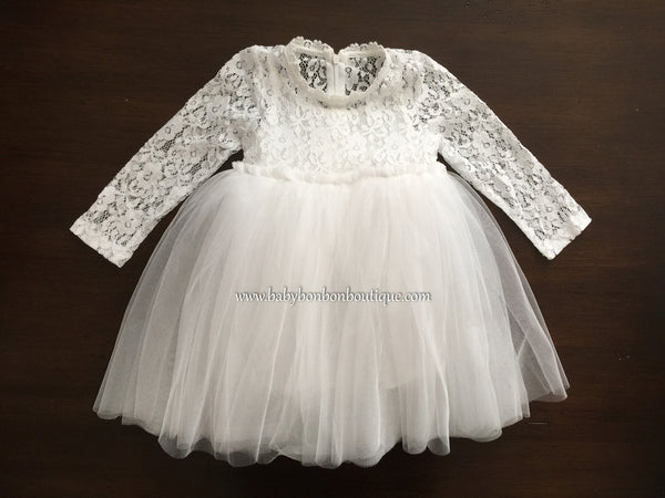 French White Ballerina Baptism Dress