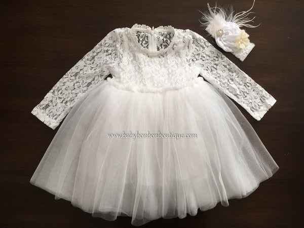 French White Ballerina Baptism Dress with Headband