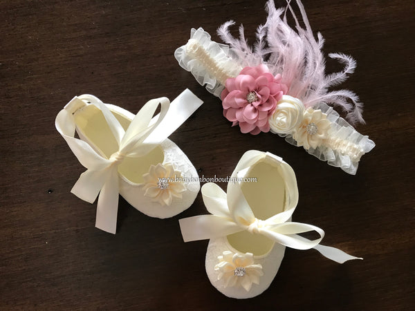 Ivory Baptism Shoes & Dusty Pink Headband Set