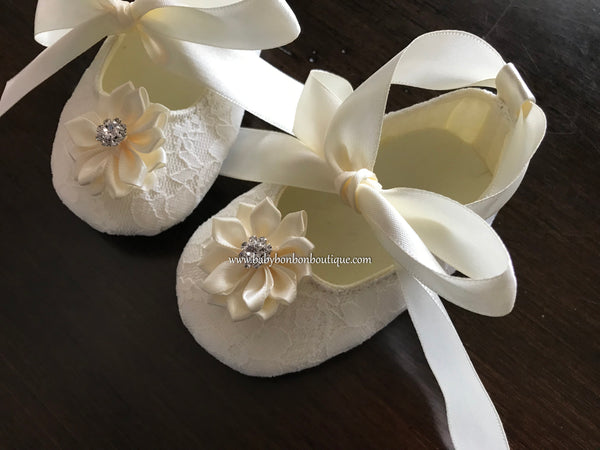 Ivory Baby Baptism Shoes with Flowers and Rhinestones