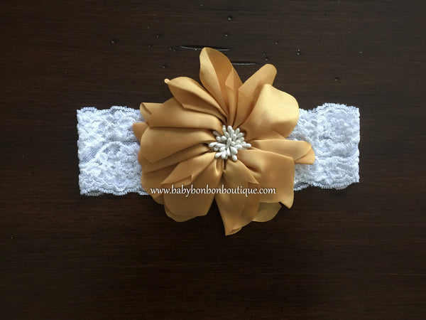 Coral Flower Girl Headband